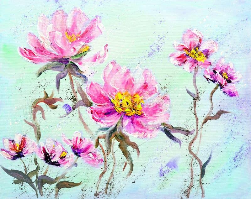 手画现代样式桃红色牡丹花 皇族释放例证