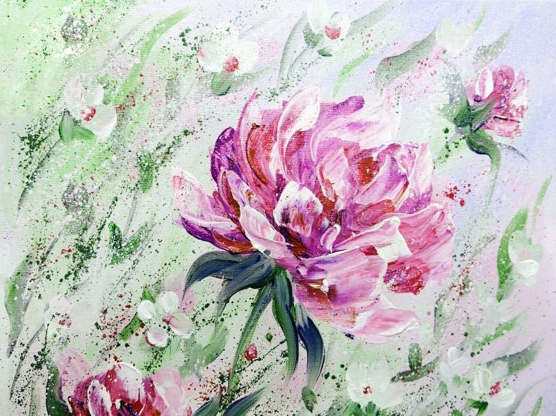手画现代样式桃红色牡丹花 向量例证