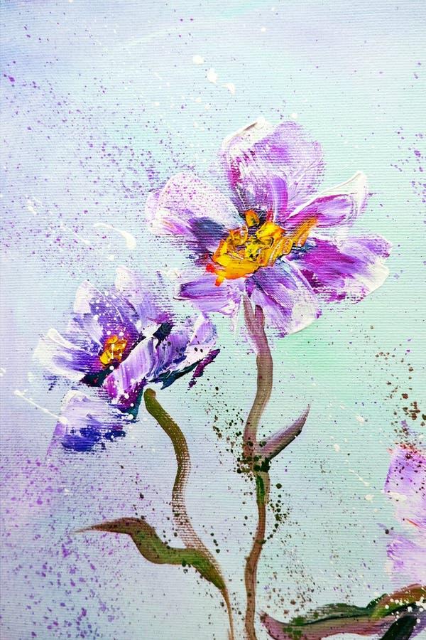 手画现代样式紫色牡丹花 向量例证