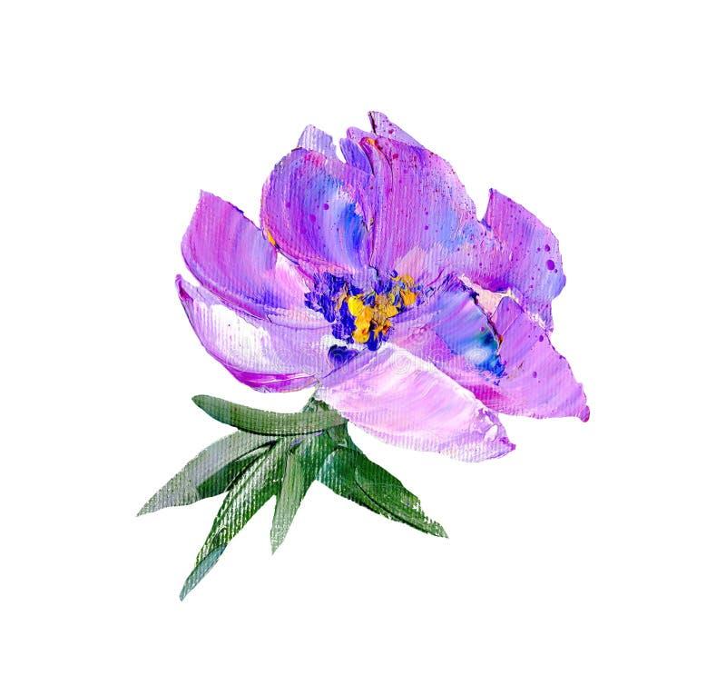 手画现代样式紫色花 向量例证