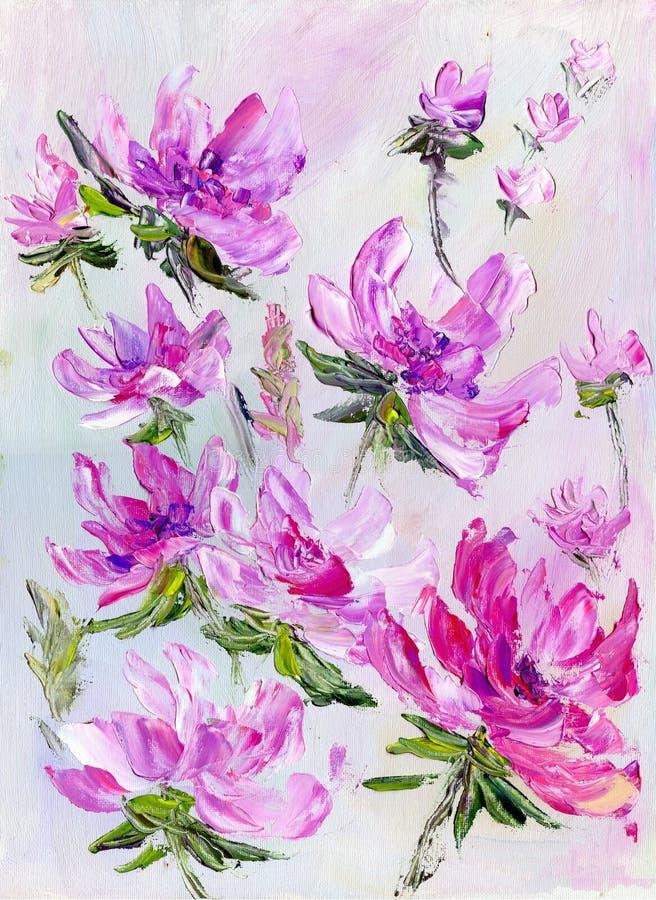 手画现代样式紫色花 皇族释放例证