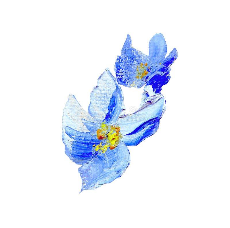 手画现代样式蓝色花 皇族释放例证