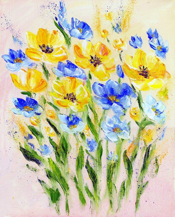 手画现代样式黄色和蓝色花 库存例证