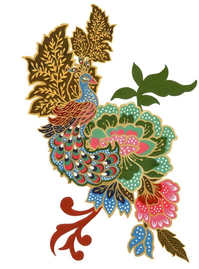 手画美丽花孔雀马来西亚鸟艺术和印度尼西亚蜡染布布裙花束构成水彩的树胶水彩画颜料 向量例证