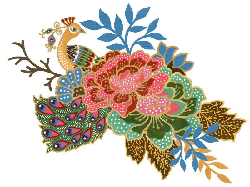 手画美丽花孔雀马来西亚鸟艺术和印度尼西亚蜡染布布裙花束构成水彩的树胶水彩画颜料 皇族释放例证