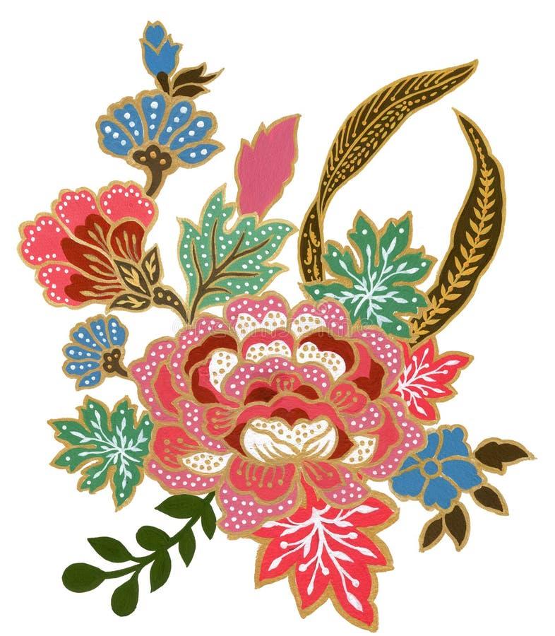 手画美丽花艺术的金子和五颜六色的马来西亚和印度尼西亚蜡染布布裙花束水彩的树胶水彩画颜料  皇族释放例证