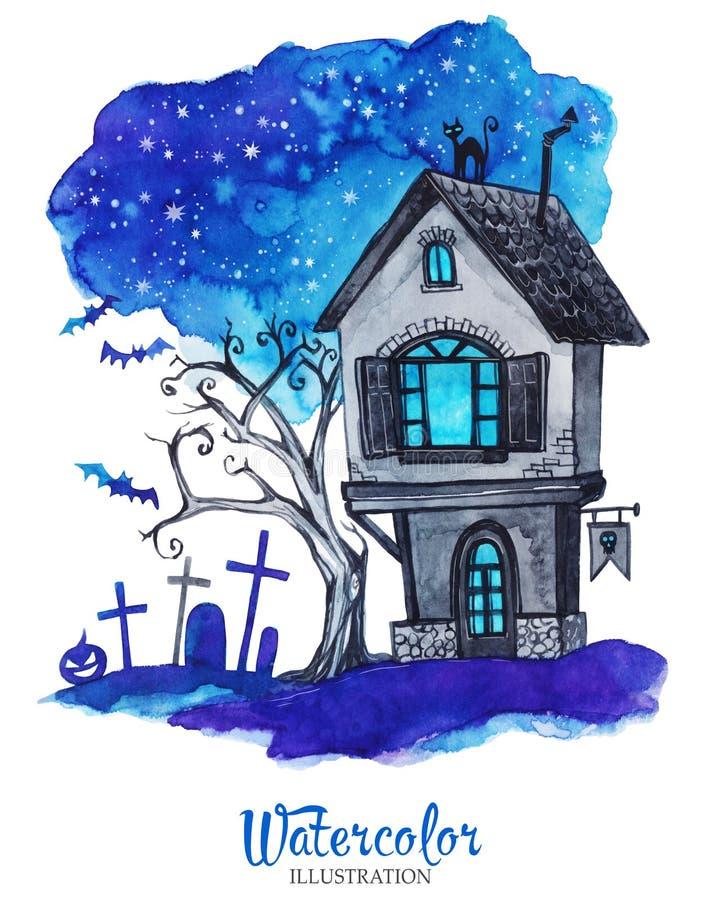 手画老房子在万圣夜` s晚上 鬼的横向 向量例证