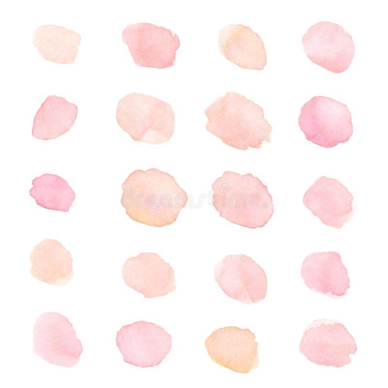 手画软的桃红色和桃子水彩小点和污点isola 皇族释放例证