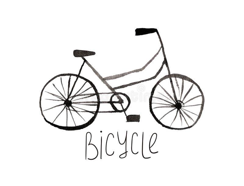 手画黑树胶水彩画颜料自行车 库存例证