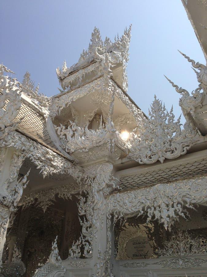 手白色寺庙,wat rong khun,清莱细节  免版税图库摄影