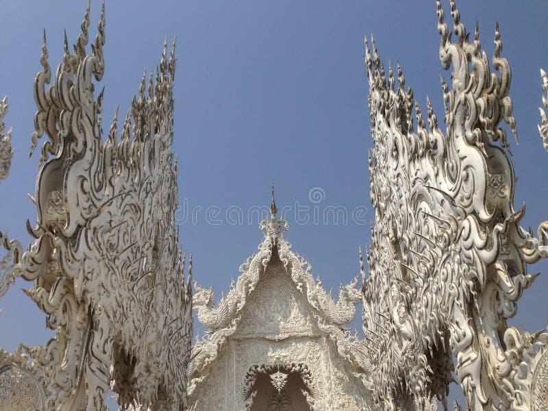 手白色寺庙,wat rong khun,清莱细节  免版税库存图片