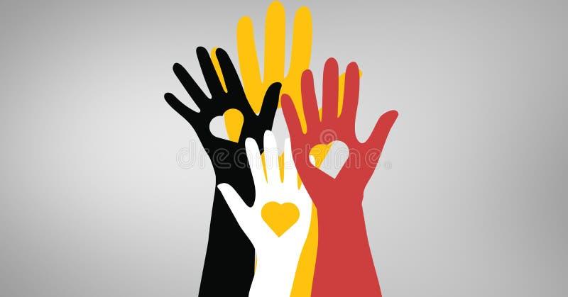 手的传染媒介例证有心脏形状的 库存例证