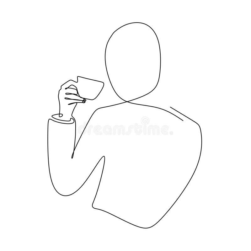 手的实线拿着一杯咖啡的图画 向量例证
