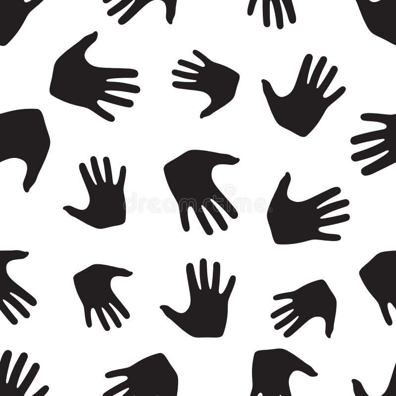 从手的无缝的样式 抽象背景,背景 库存例证