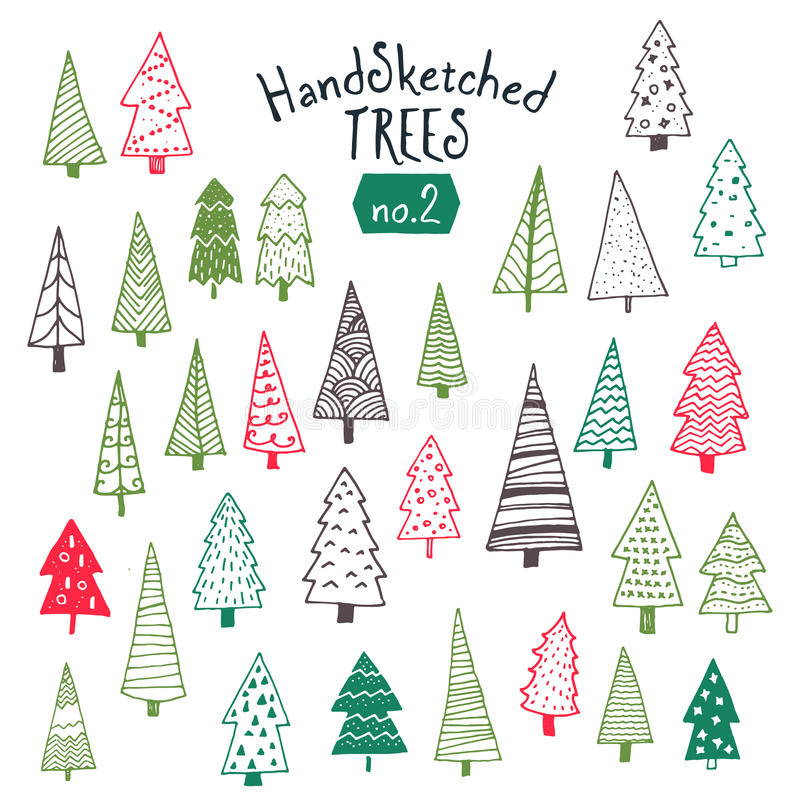手的汇集速写了圣诞树 向量例证
