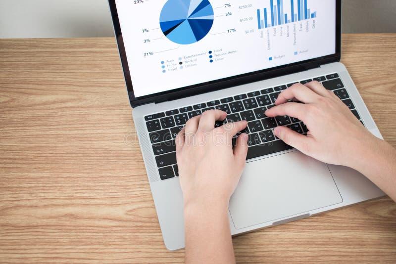 手的特写镜头图片在显示在屏幕上的膝上型计算机的财政图表在一张棕色木桌上 免版税库存图片