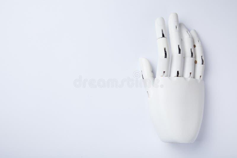 手的白色人为肢体,拷贝空间 库存照片