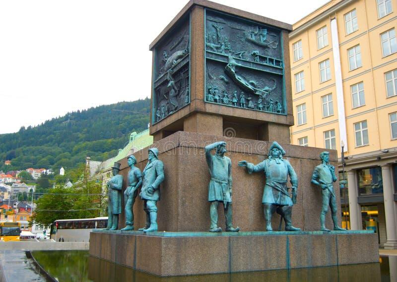 水手的纪念碑在卑尔根,挪威 图库摄影