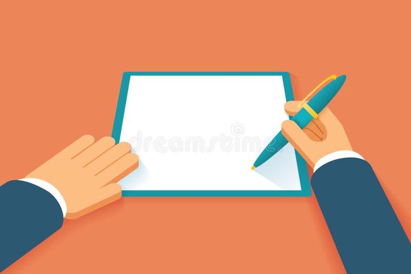 手签合同 库存例证