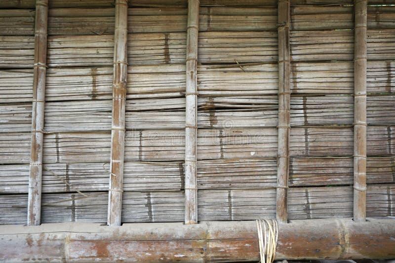 手织的竹墙壁特写镜头水平的背景 免版税库存照片