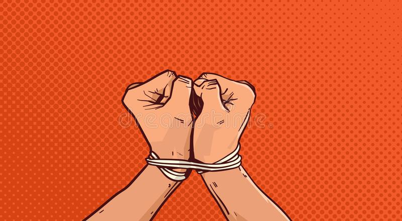 手绑住与绳索在葡萄酒流行艺术背景的被隔绝的剪影 皇族释放例证