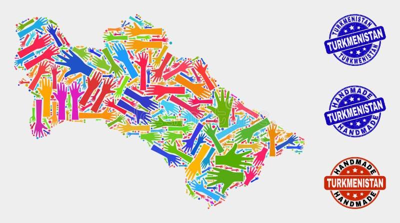 手结构的土库曼斯坦地图和难看的东西手工制造邮票 向量例证