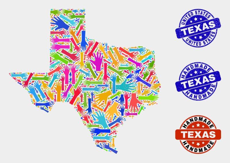 手结构的得克萨斯状态地图和难看的东西手工制造邮票 库存例证