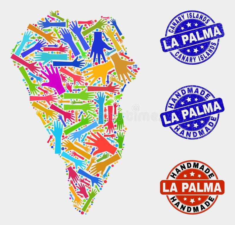 手结构的拉帕尔玛岛海岛地图和困厄手工制造封印 库存例证