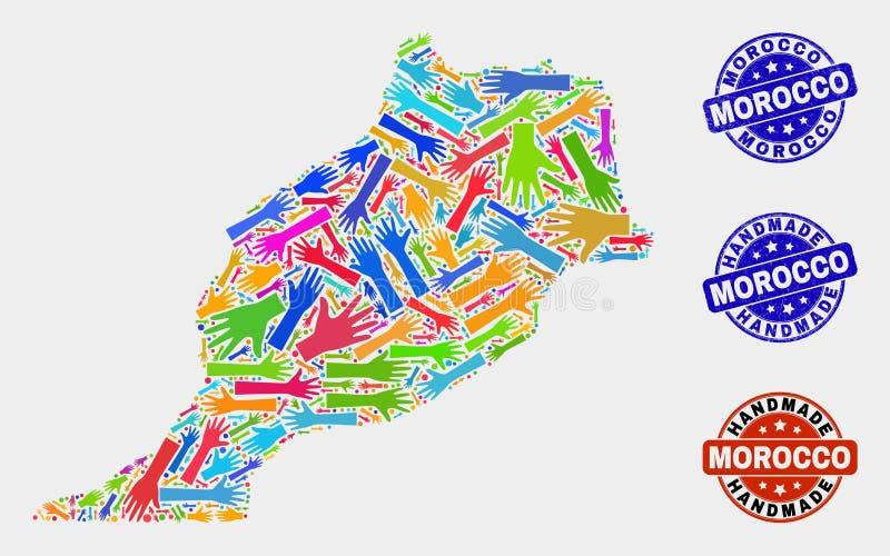 手结构的摩洛哥地图和织地不很细手工制造邮票 库存例证