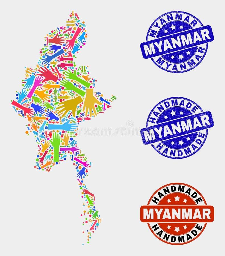 手结构的缅甸地图和织地不很细手工制造邮票 皇族释放例证