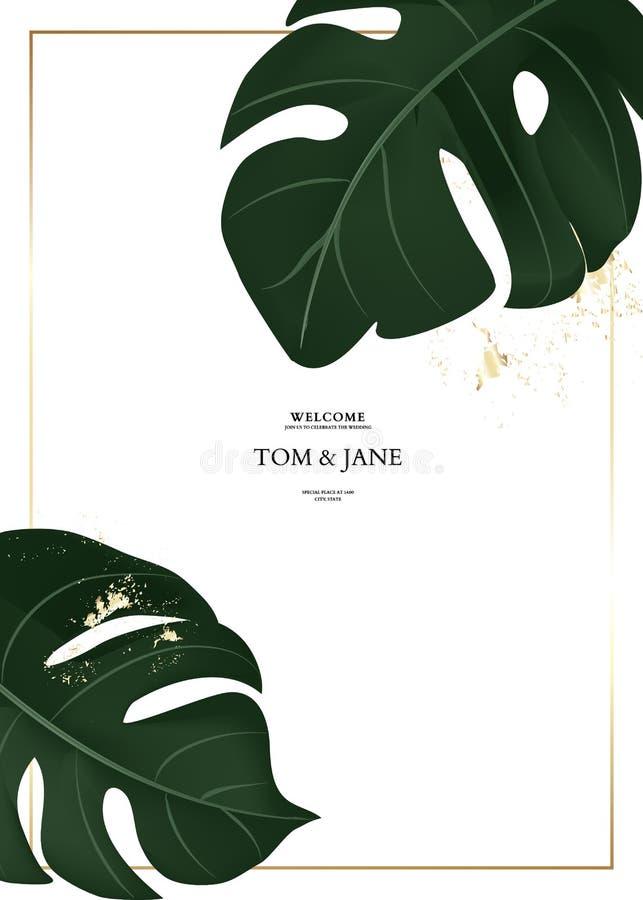 手绘棕叶树叶矢量图 热带丛林深绿色设计,金元素,结婚邀请卡模板 库存例证