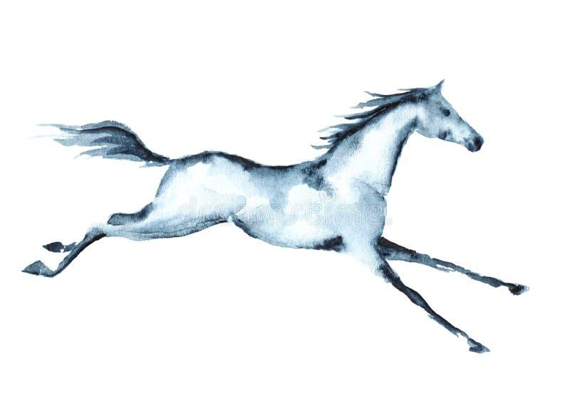手绘画水彩疾驰的马 皇族释放例证