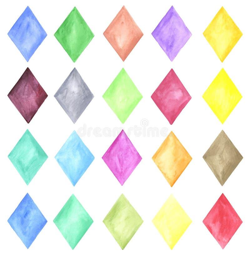 手绘画菱形的水彩例证 向量例证