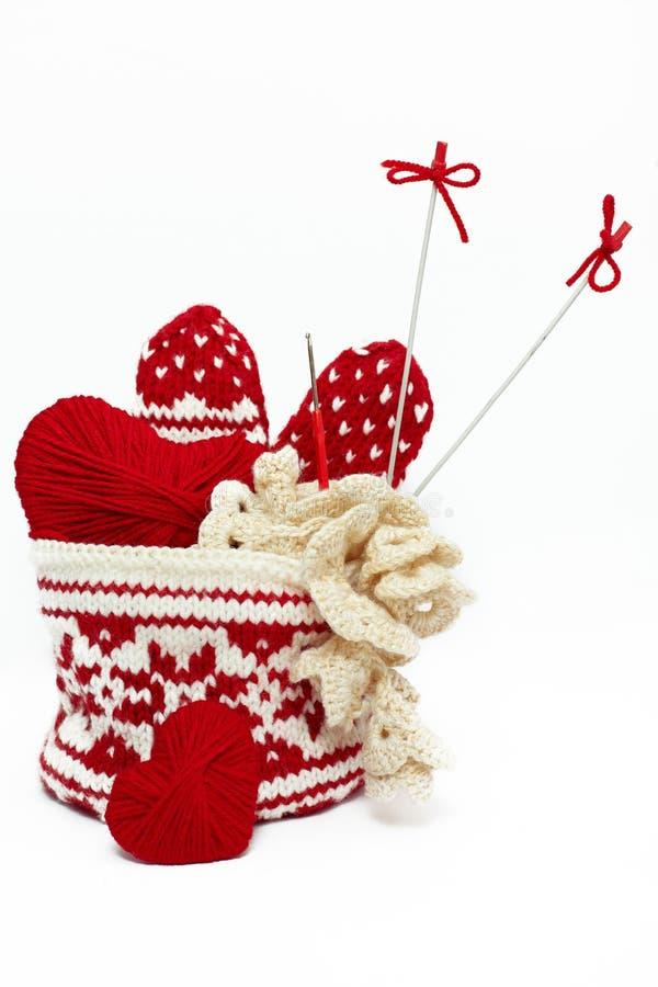 手编织对象的钩针编织被设置 库存照片
