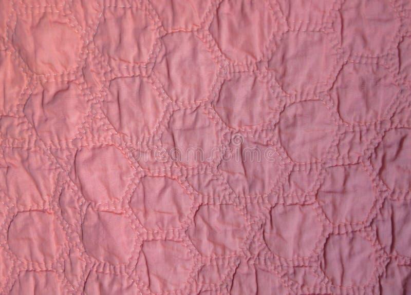 手缝制的桃红色六角形 免版税库存照片