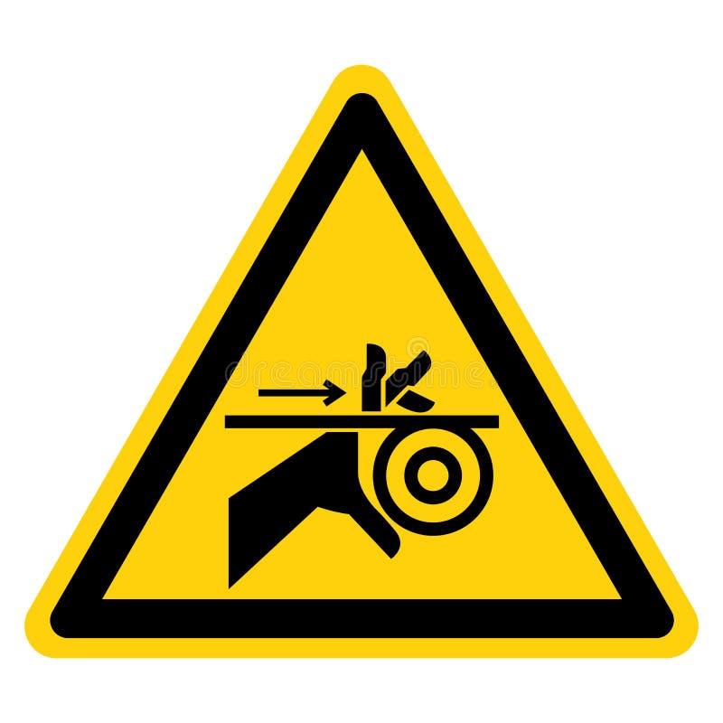手缠结传送带和路辗标志标志孤立在白色背景,传染媒介例证 向量例证