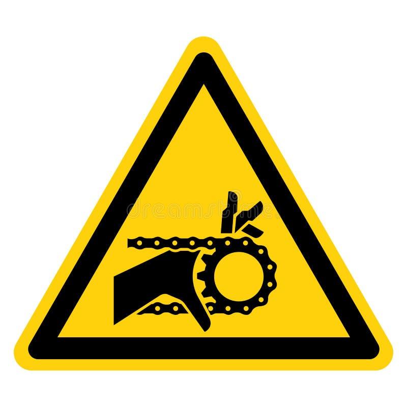 手缠结利用链条传送动力的装备标志在白色背景,传染媒介例证的标志孤立 向量例证