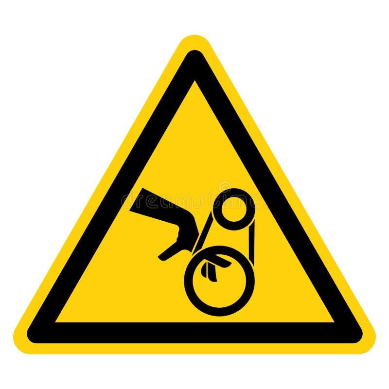 手缠结皮带传动标志在白色背景,传染媒介例证的标志孤立 库存例证