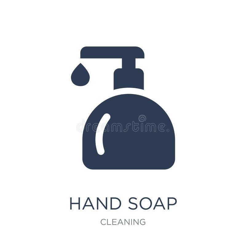 手肥皂象 在白色backg的时髦平的传染媒介手肥皂象 库存例证
