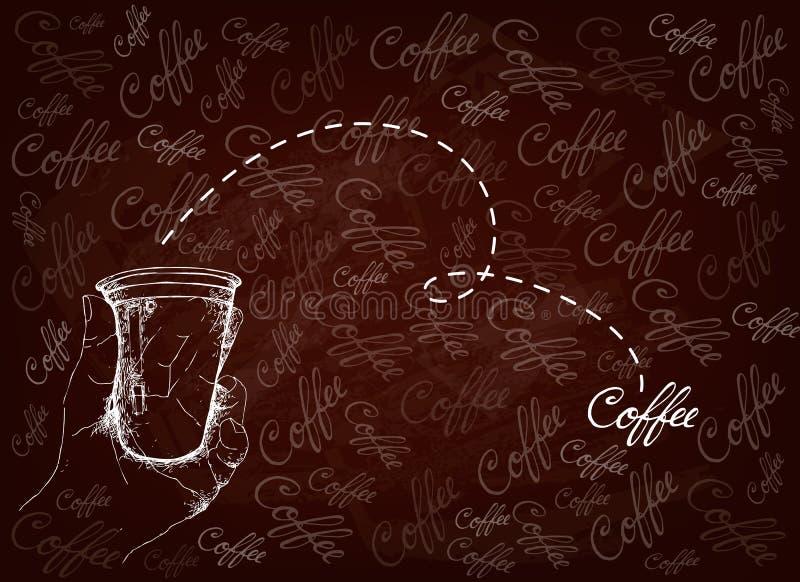 手藏品一次性咖啡杯手拉的背景  向量例证