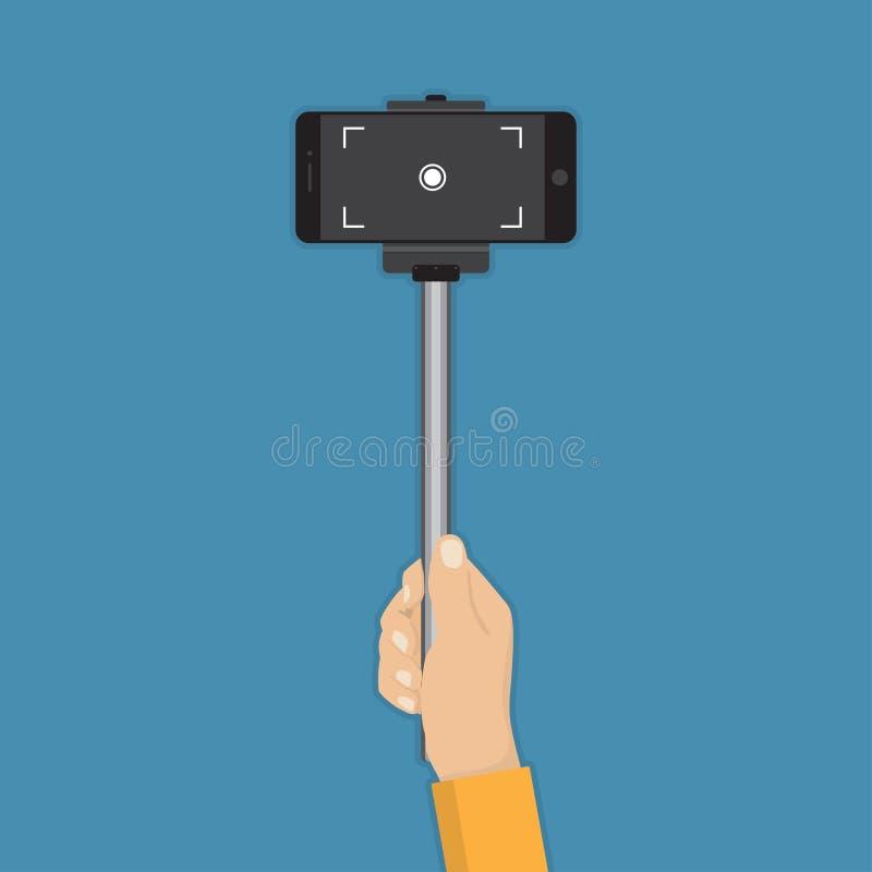 手藏品与智能手机的棍子selfie在一个平的设计 库存例证