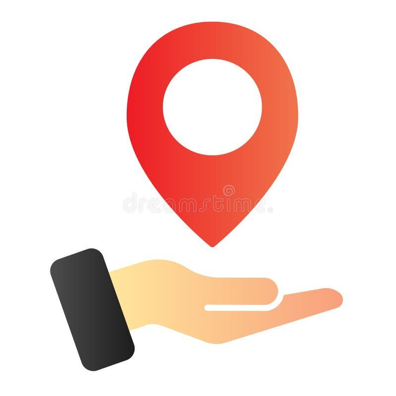 手藏品地图别针平的象 在胳膊颜色象的地图尖在时髦平的样式 方向梯度样式设计 向量例证
