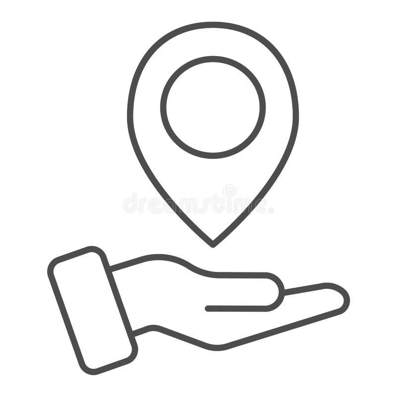 手藏品地图别针稀薄的线象 在胳膊在白色隔绝的传染媒介例证的地图尖 方向概述样式 皇族释放例证