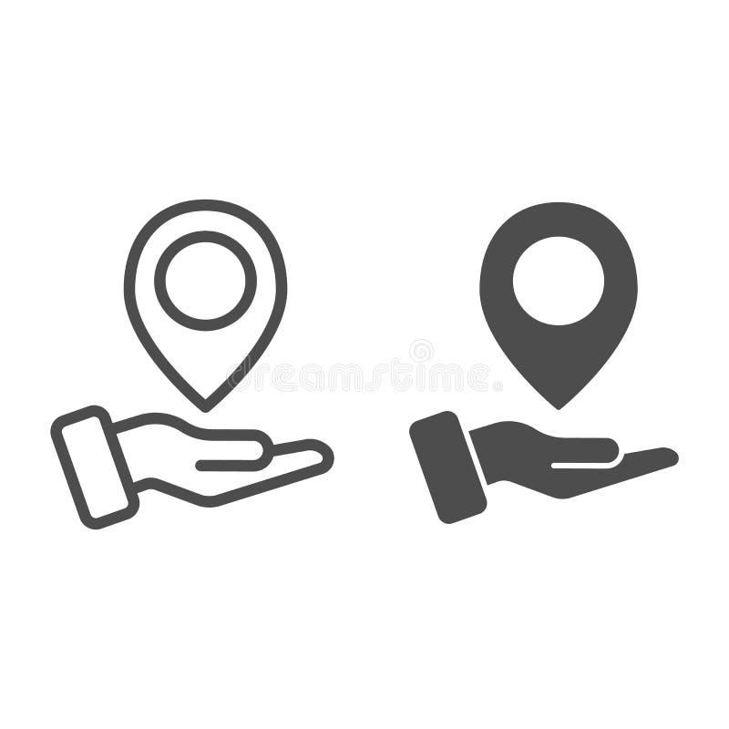 手藏品地图别针线和纵的沟纹象 在胳膊在白色隔绝的传染媒介例证的地图尖 方向概述 向量例证