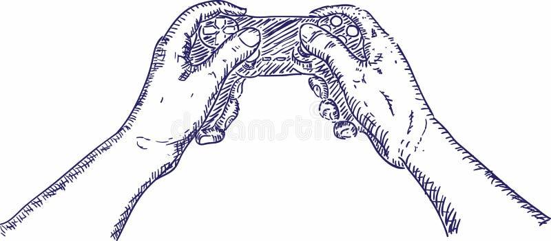 手藏品控制杆,手拉的手对负 库存例证