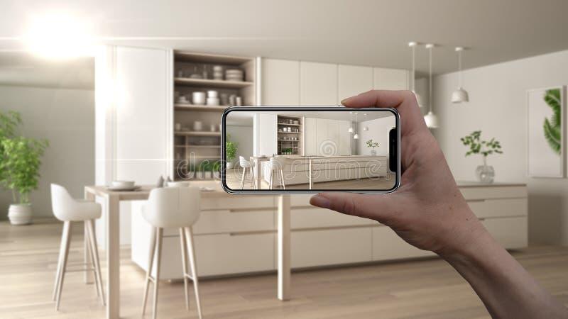 手藏品智能手机,AR应用,在真正的家,建筑师设计师概念模仿家具和室内设计产品 向量例证