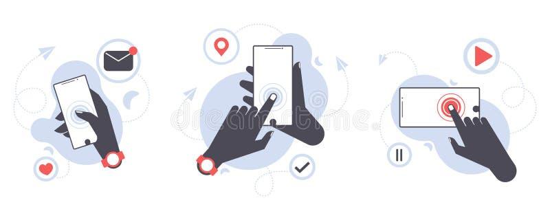 手藏品机动性,有黑屏的智能手机的平的传染媒介例证集合概念 传送信息,喜欢,心脏 皇族释放例证