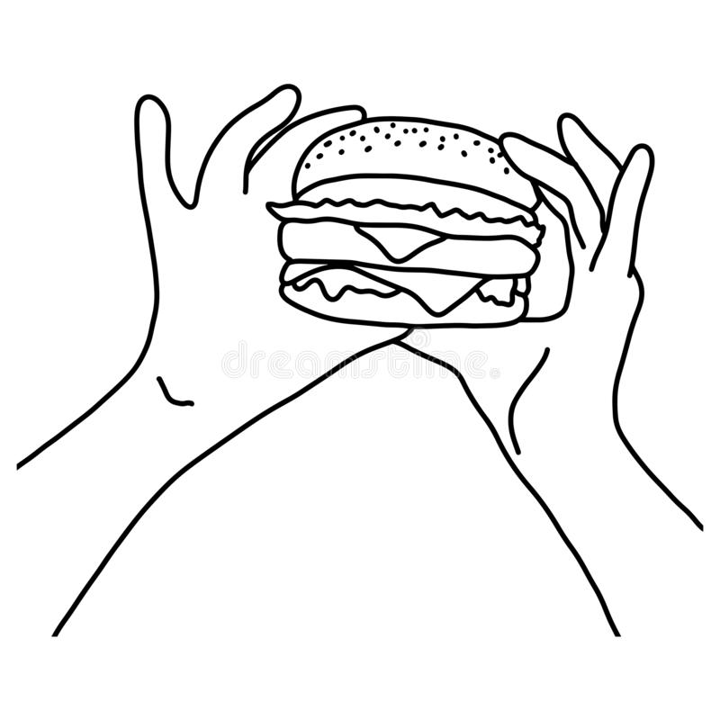手藏品汉堡包传染媒介例证剪影乱画手拉与在白色背景隔绝的黑线 库存例证
