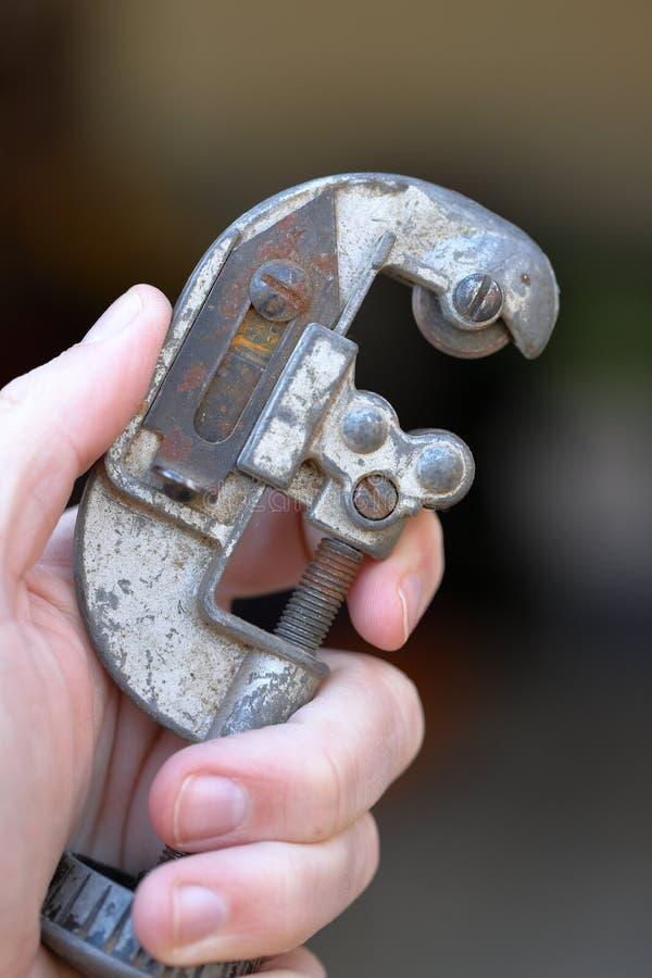 手藏品管子和截管器工具 库存图片