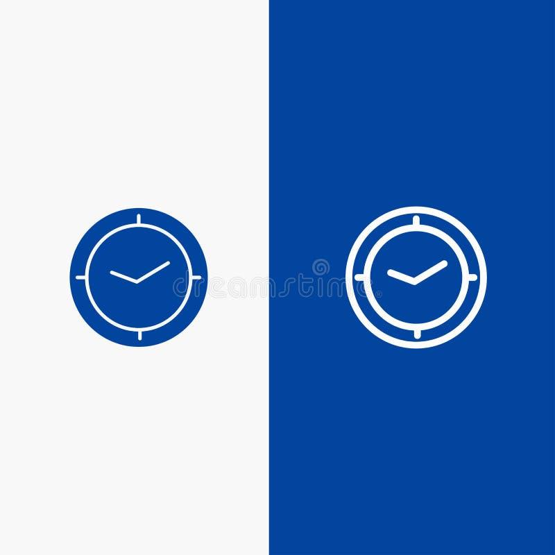 手表、时间、定时器、时钟线和纵的沟纹坚实象蓝色旗和纵的沟纹坚实象蓝色横幅 向量例证